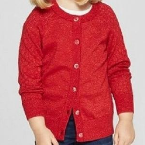 Girls Red Cardigan with Shine